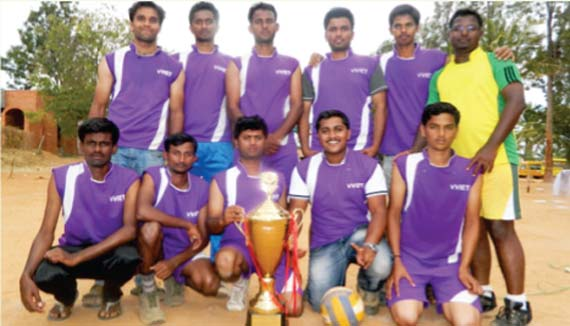 The winning team of inter college volleyball tournament - VVET